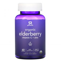 Sports Research, Organic Elderberry, Vitamin C + Zinc, Natural Berry Flavors, 60 Gummies