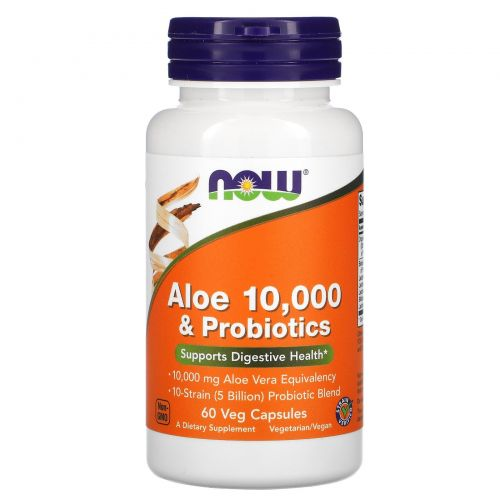 Now Foods, Aloe 10,000 & Probiotics, 60 Veg Caps