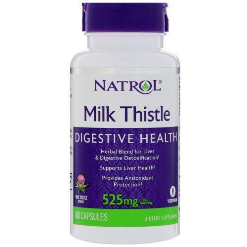 """Natrol, """"Польза молочного чертополоха"""", 525 мг, 60 капсул на растительной основе"""