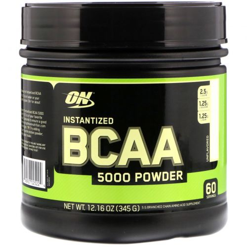 Optimum Nutrition, Порошок BCAA 5000 растворимый, без специй, 12,16 oz (345 г)