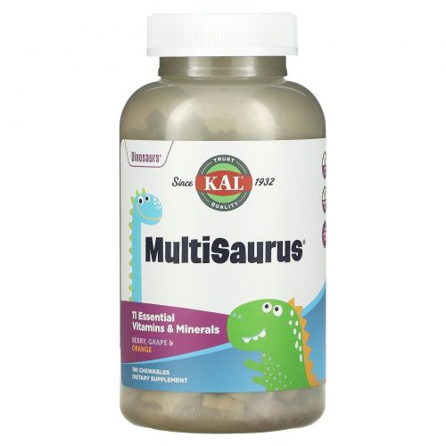 KAL, MultiSaurus, Berry, Grape & Orange, 180 Chewables