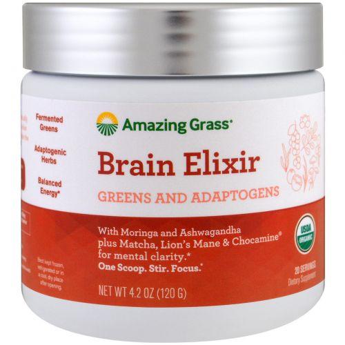 Amazing Grass, эликсир для мозга, растительные составляющие и адаптогены, 120 г (4,2 унции)