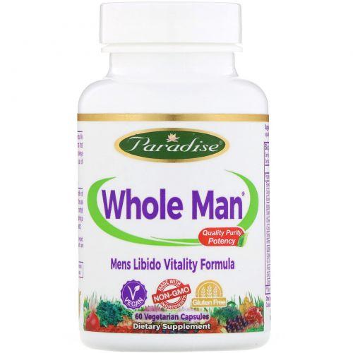 Paradise Herbs, Whole-Man, Rhino - формула энергии для мужчин, 60 вегетарианских капсул