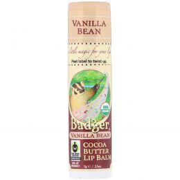 Badger Company, Бальзам для губ с ванилью и маслом какао , 0.25 унции (7 г)