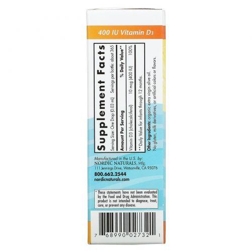 Nordic Naturals, Витамин Д3 для детей, 400 МЕ, 11 мл (0,37 fl oz)