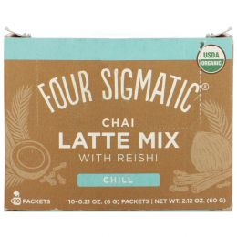 Four Sigmatic, Чай латте, грибное ассорти, 10 пакетов, каждый по 0,21 унц. (6 г)