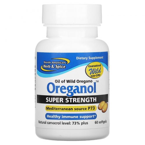 North American Herb & Spice Co., Ореганол P73, суперсильный, 60 мягких желатиновых капсул