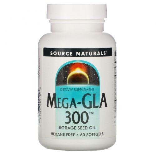 Source Naturals, Мега-GLA 300, 60 мягких капсул
