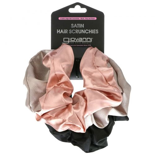 Giovanni, Satin Hair Scrunches, Extra Large, Blush, Gray and Black,  3 Pack