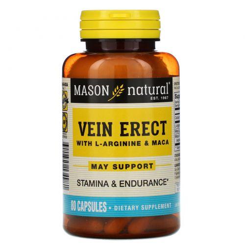 Mason Natural, Vein Erect с L-аргинином и макой, 80 капсул