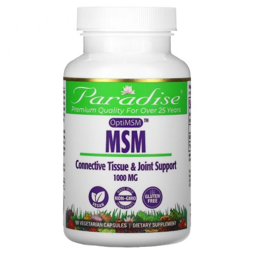 Paradise Herbs, MSM, OptiMSM, 1,000 mg, 90 Vegetarian Capsules