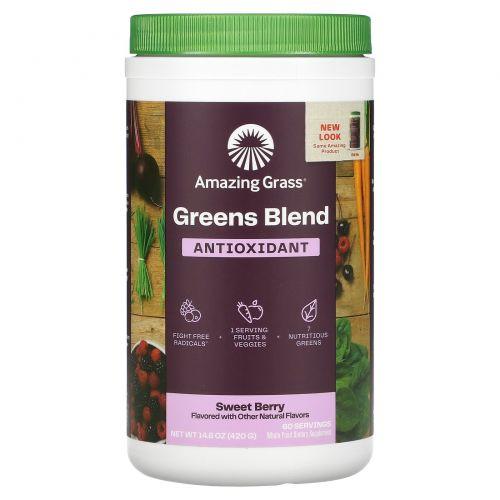 Amazing Grass, Green Superfood, антиоксиданты, сладкие ягоды, 14,8 унц. (420 г)