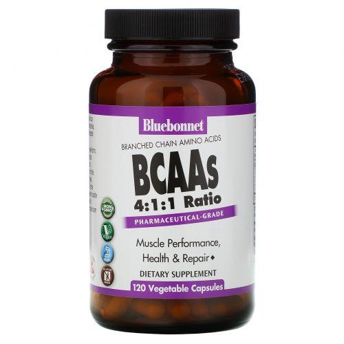 Bluebonnet Nutrition, BCAA с коэффициентом 4:1:1 (аминокислоты с разветвленной цепью), 120 вегетарианских капсул