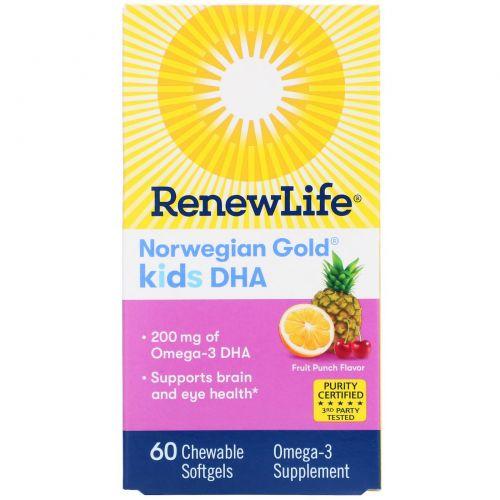"""Renew Life, """"Норвежское золото"""", ДГК для детей, фруктовый вкус, 60 жевательных мягких капсул"""