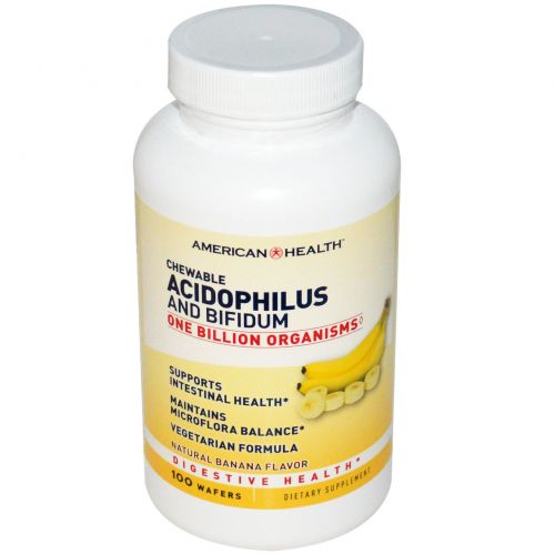 American Health, Chewable Acidophilus and Bifidum, Натуральный вкус банана, 100 пастилок