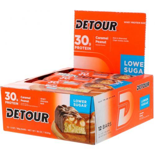 Detour, Батончики из сывороточного белка со вкусом карамели и арахиса, 12 батончиков по 3 унции (85 г) каждый