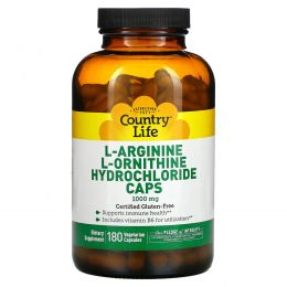 Country Life, L-аргинин и L-орнитина гидрохлорид в капсулах, 1000 мг, 180 капсул