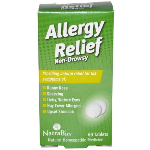 NatraBio, Allergy Relief, не вызывает сонливости, 60 таблеток