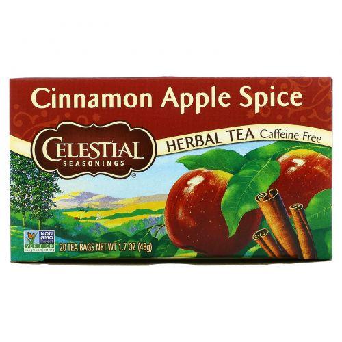 Celestial Seasonings, Вкус корицы и яблока, без кофеина, 20 чайных пакетиков, 1.7 унции (48 г)