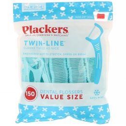 Plackers, Twin-Line, зубочистки с нитью, экономичная упаковка, морозная мята, 150шт.