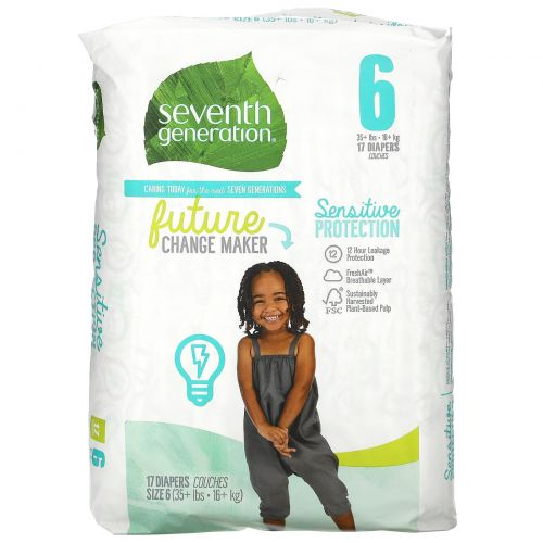 Seventh Generation, Sensitive Protection Diapers, Size 6, 35+ lbs, 17 Diapers