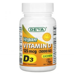 Deva, Vegan Vitamin D, 125 mcg (5,000 IU), 90 Tablets