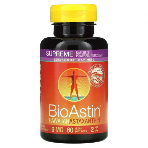 Nutrex Hawaii, BioAstin Supreme, 6 мг, 60 желатиновых капсул