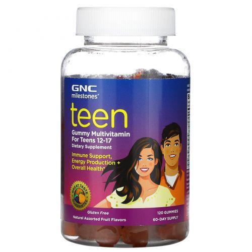 GNC, Milestones, жевательные мультивитамины для подростков 12–17лет, ассорти из натуральных фруктов, 120жевательных конфет