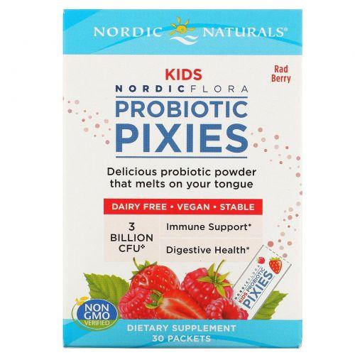 Nordic Naturals, Нордическая флора, для детей, Эльфы с пробиотиками, Классные ягоды, 3 млрд КОЕ, 30 пакетов