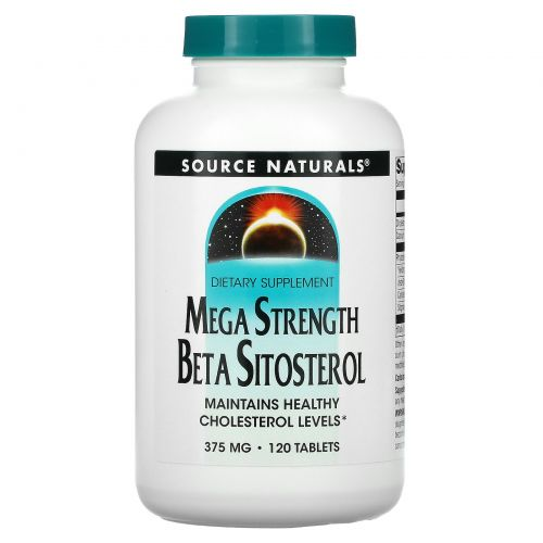 Source Naturals, Mega Strength Beta Sitosterol, 375 мг, 120 таблеток