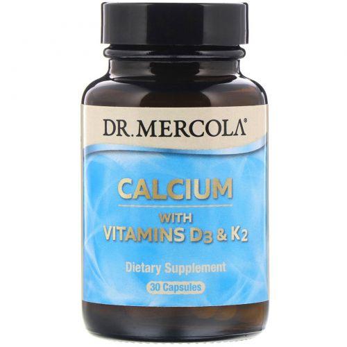 Dr. Mercola, Кальций с витаминами D3 & K2, 30 капсул