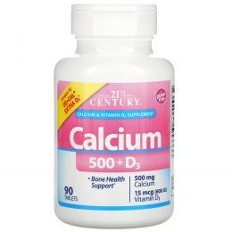 21st Century, Кальций 500 + витамин D3 + еще больше D3, 90 капсул