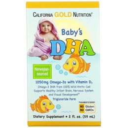 California Gold Nutrition, ДГК для детей, 1050 mg, Omega-3s with Vitamin D3, 2 ж. унции (59 мл)