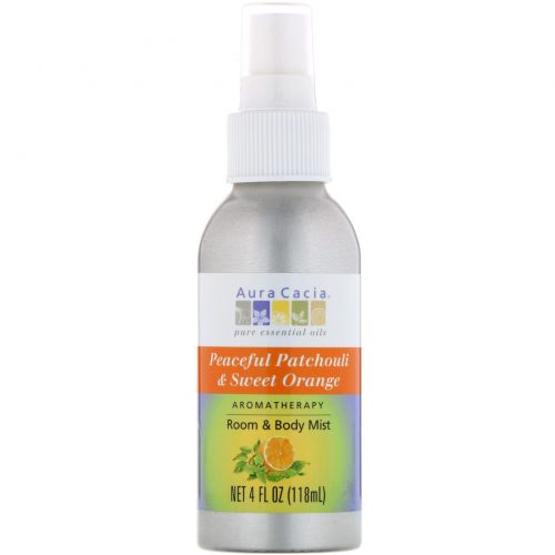 Aura Cacia, Aromatherapy Room & Body Mist, Peaceful Patchouli & Sweet Orange, 4 fl oz (118 ml)