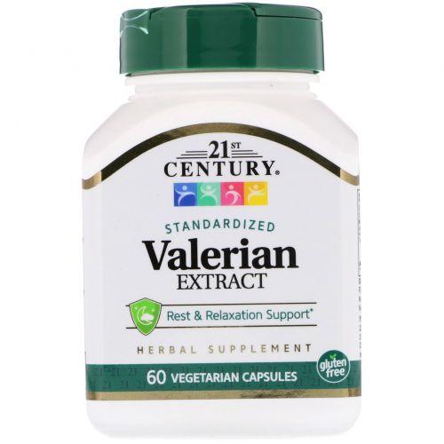 21st Century, Экстракт валерианы, стандартизированные 60 вегетарианских капсул