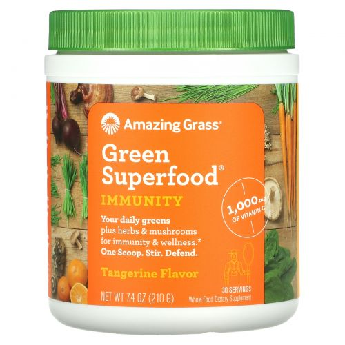 Amazing Grass, Green Superfood, Иммунитет, мандарин, 7,4 унции (210 г)