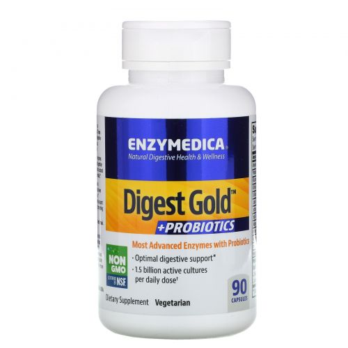 Enzymedica, Digest Gold + пробиотики, 90 капсул