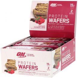 Optimum Nutrition, Protein Wafers, Chocolate Raspberry Creme, 9 Packs, 1.45 oz (41 g) Each
