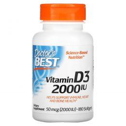 Doctor's Best, Витамин D3, 2,000 МЕ, 180 мягких таблеток