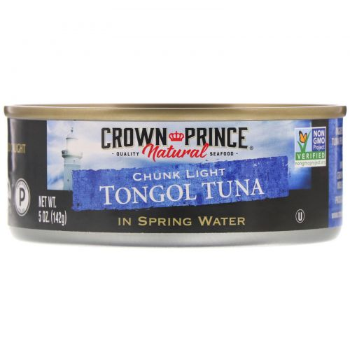 Crown Prince Natural, Кусочки легкого тунца тонгол, в родниковой воде, 5 унций (142 г)