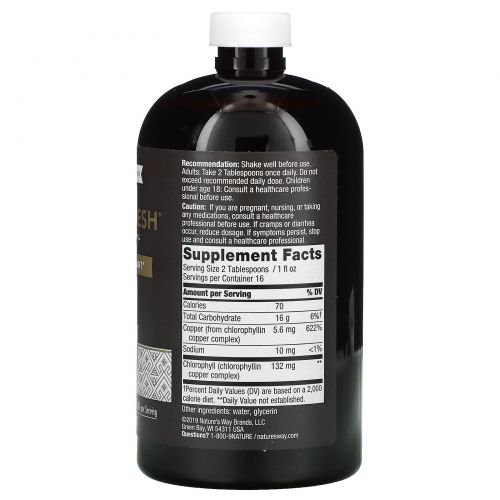 Nature's Way, Chlorofresh, жидкий хлорофилл, неароматизированный, 16 жидких унций (473.2 мл)