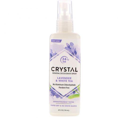 Crystal Body Deodorant, Дезодорант-спрей для тела Crystal Essence с минеральными солями, лавандой и белым чаем, 4 жидких унции (118 мл)