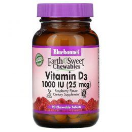 Bluebonnet Nutrition, Earth Sweet, Chewable Vitamin D3, 1000 IU, Natural Raspberry Flavor, 90 Chewable Tablets