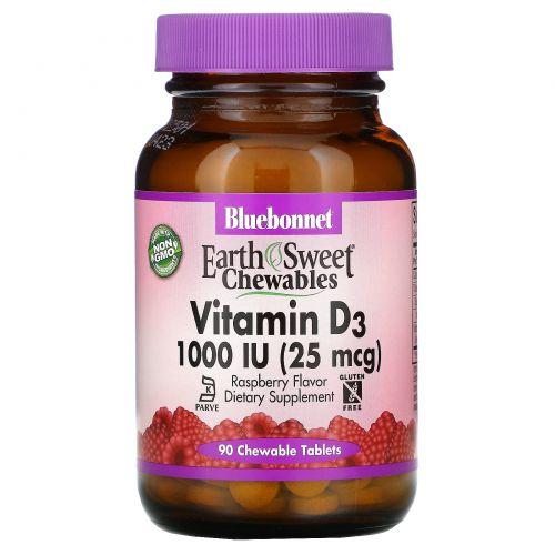 Bluebonnet Nutrition, Earth Sweet, Chewable Vitamin D3, 1000 IU, Natural Raspberry Flavor, 90 Chewable Tablets