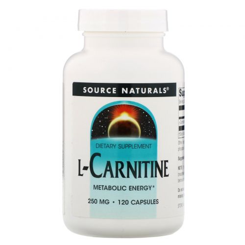 Source Naturals, L-карнитин, 250 мг, 120 капсул