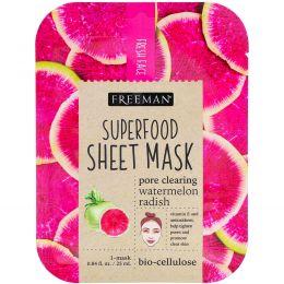 Freeman, Тканевая маска с суперфудами, арбуз и редька для очищения пор, 1 маска