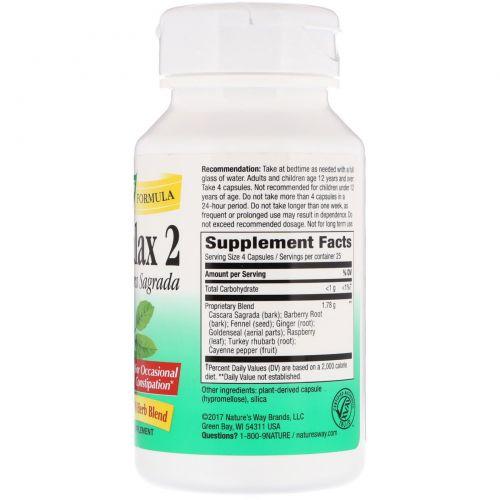 Nature's Way, Пищевая добавка Naturalax 2, с крушиной американской, 445 мг, 100 растительных капсул