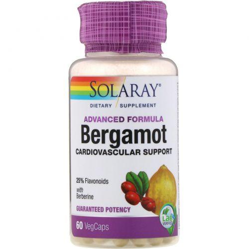 Solaray, Бергамот, усовершенствованная рецептура, добавка для укрепления сердечно-сосудистой системы, 60растительных капсул