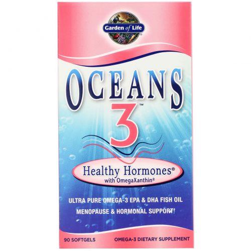 Garden of Life, Oceans 3, Здоровые Гормоны с OmegaXanthin 90 гелевых капсул