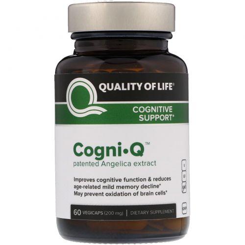 Quality of Life Labs, CognI · Q, поддержка когнитивных функций, 200 мг, 60 вегетарианских капсул